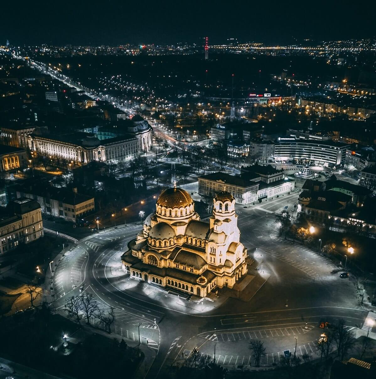Alexander Nevsky Cathedral by night