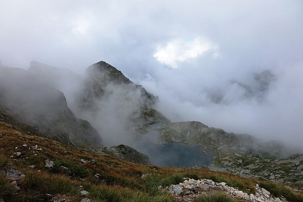 Deer Lake in the clouds in the Rila Mountains