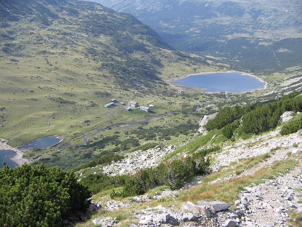 The Fish Lakes from above in the Rila Mountains