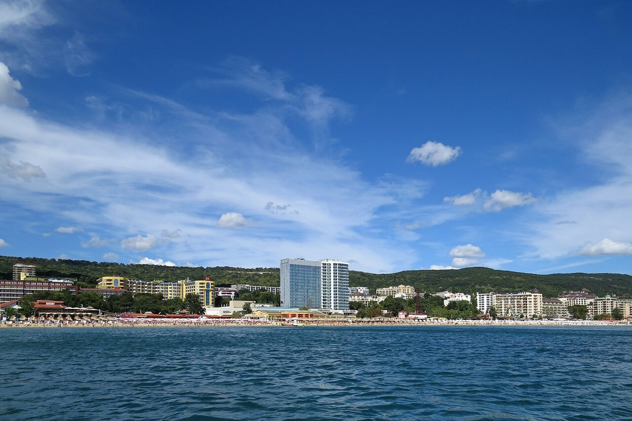 Golden Sands resort's view from the sea