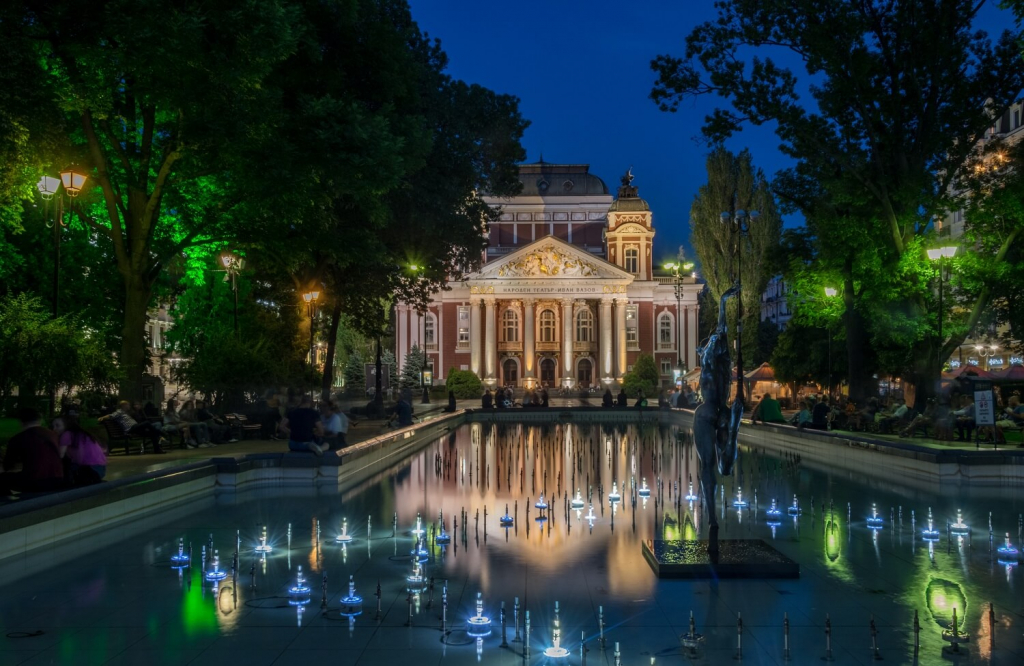 The Ivan Vazov Theater by night