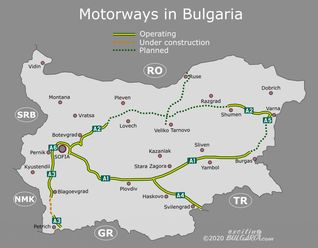 Motorway map of Bulgaria as of 2020