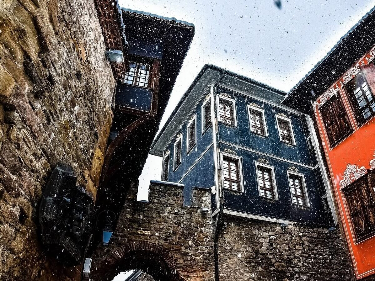 The old town of Plovdiv, houses over Hisar Kapia gate