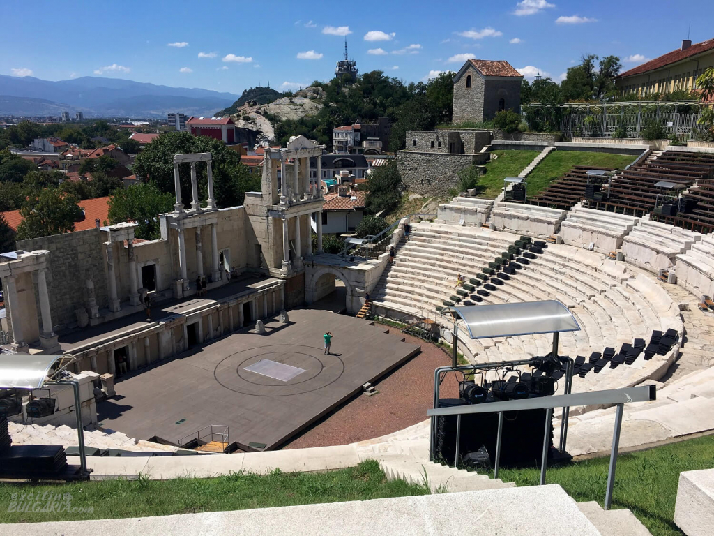 The Ancient theater in Plovdiv from above