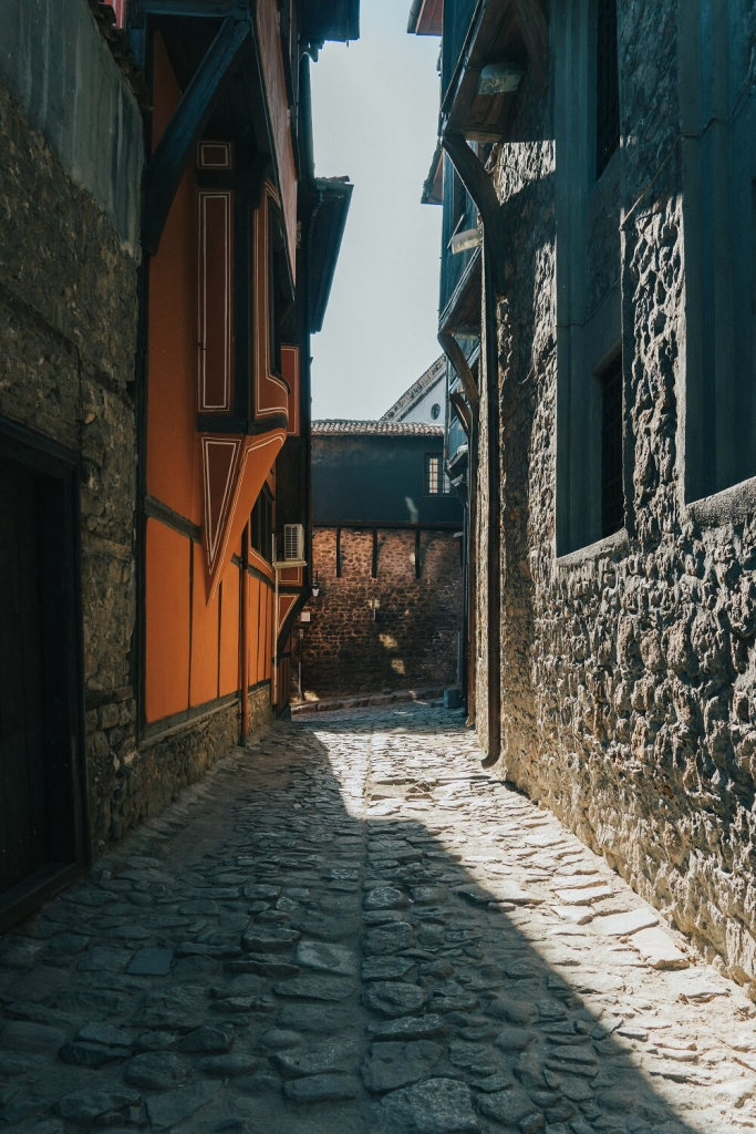Cozy street in the old town of Plovdiv