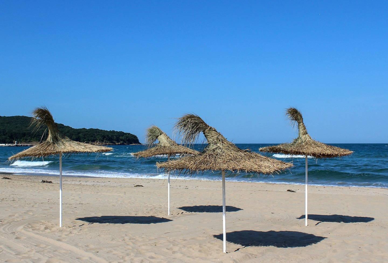 Beach umbrellas in Primorsko