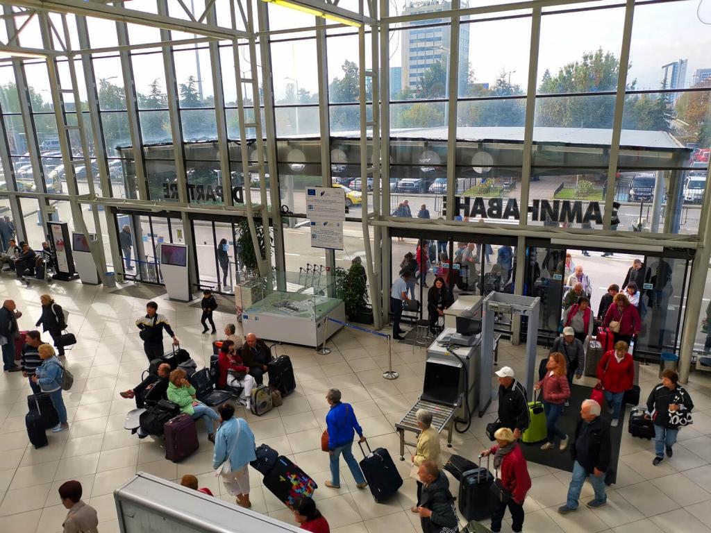 Inside terminal 1 of Sofia Airport