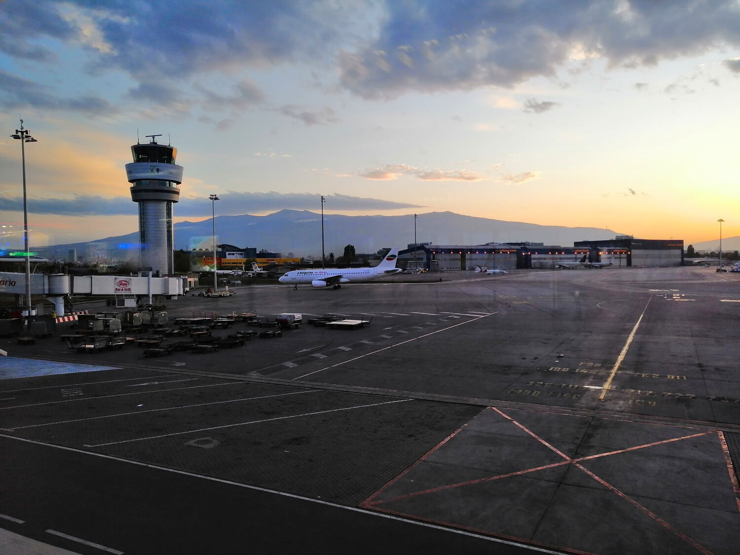 Sofia Airport at dawn with Vitosha behind