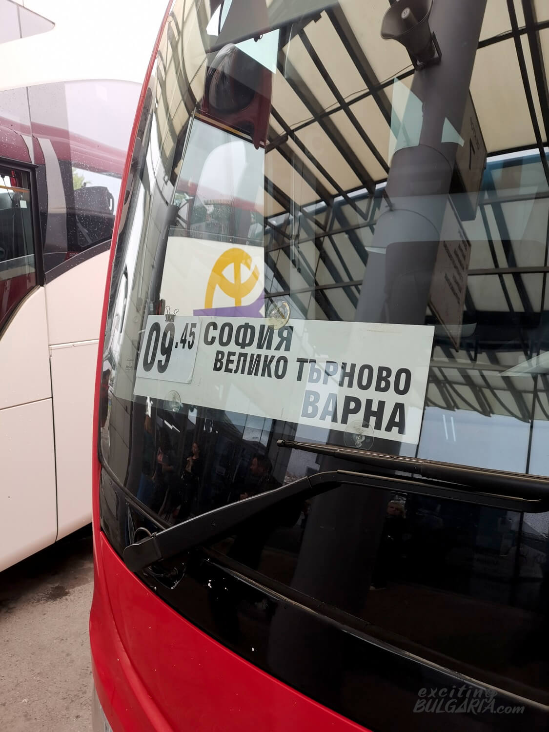 From Sofia to Varna bus sign