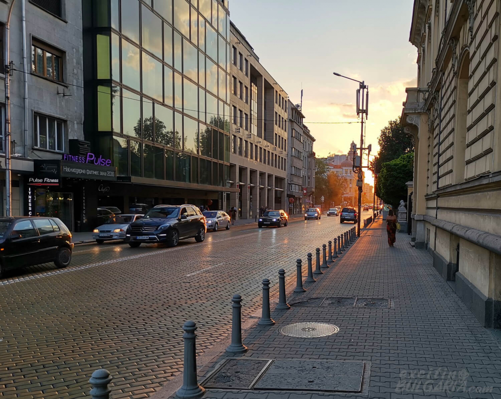 Sunset in Sofia with light traffic
