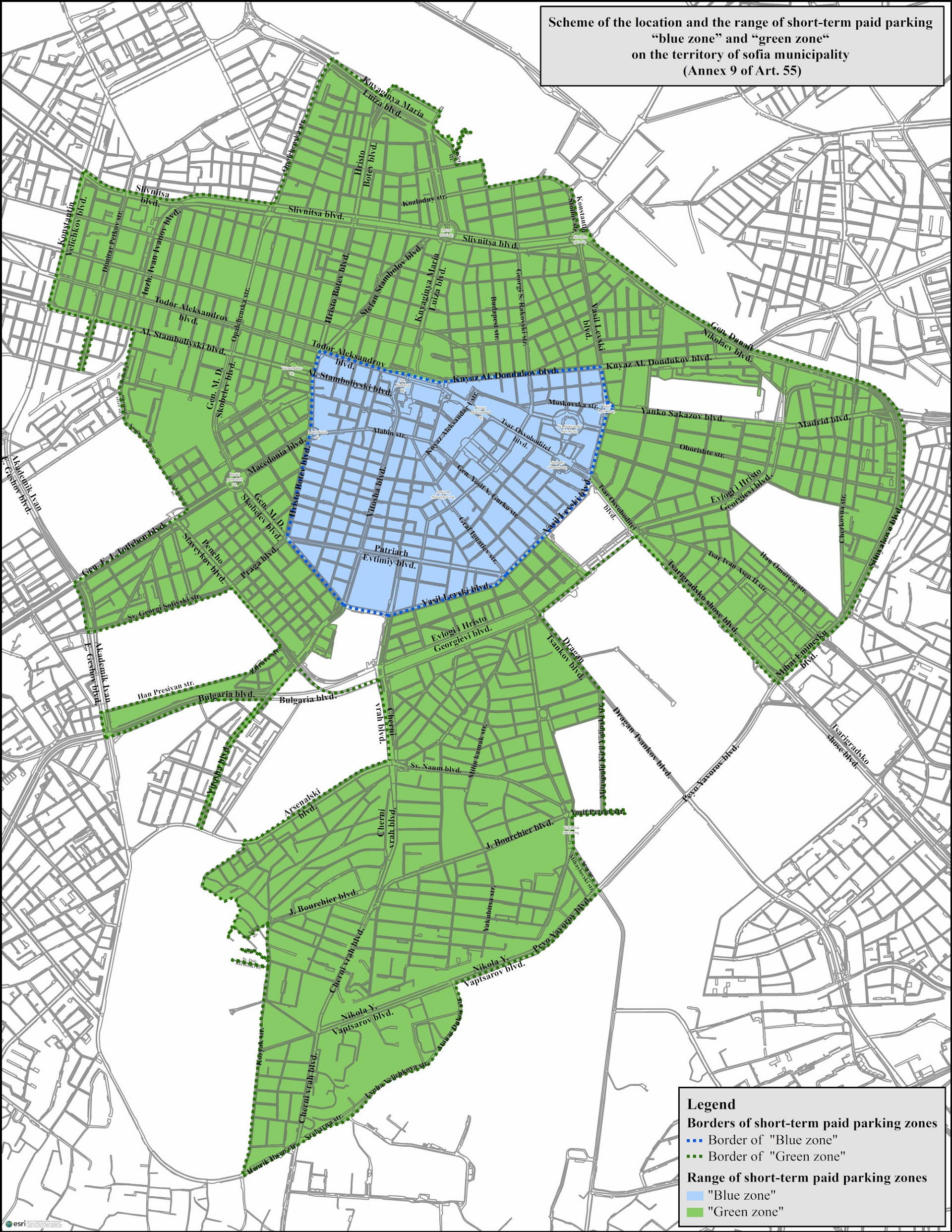 The map of paid parking zones in Sofia, Bulgaria