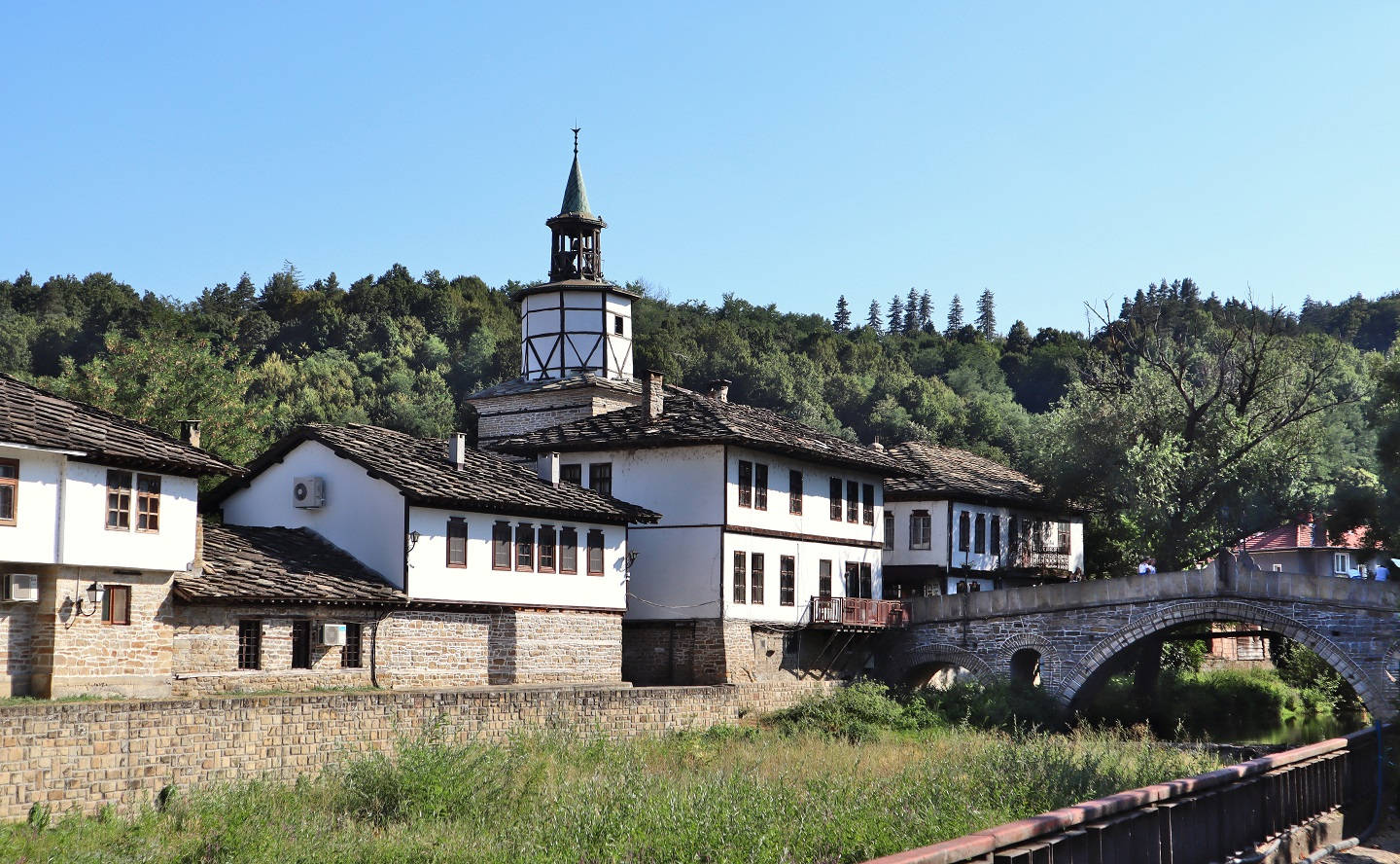 The clock tower and bridge in Tryavna