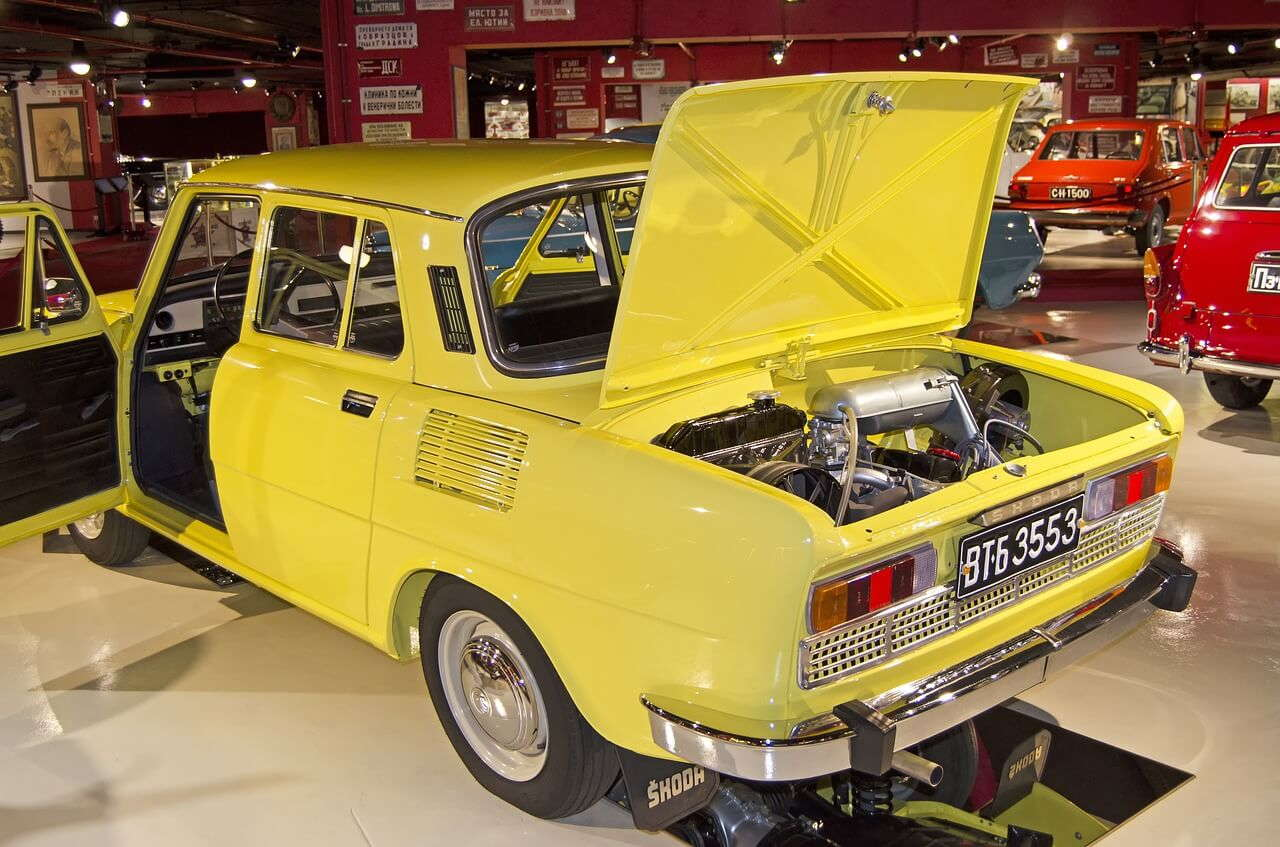 An old yellow Skoda in the Varna Retro Museum