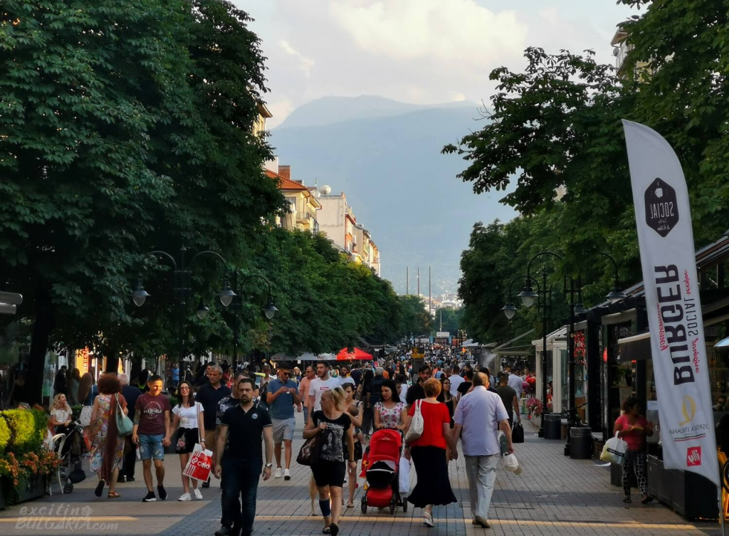Vitosha Boulevard in the summer